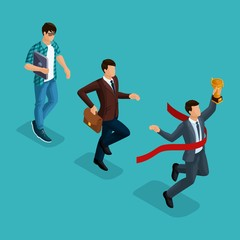 Trendy isometric people, 3d businessman, development start-up, creative young businessman, freelancer, start-up process, career growth, business concept on blue background