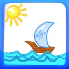 Child's drawing. Sailing boat in the sea. Vector