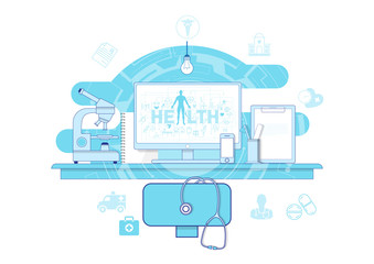 Flat line icon design website banner of health and medicacal solutions. Modern vector illustration for web design, marketing and print material.