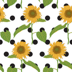 blooming sunflower with black dot seamless pattern vector illustration