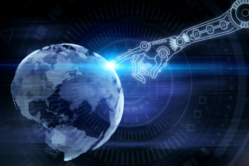 Robotics, cyberspace and technology concept