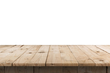 Empty wood table on isolated white background with display montage for product.