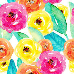 seamless watercolor pattern with yellow, pink flowers and leaves hand-painted