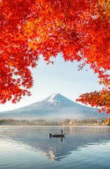 Poster Japan Colorful Autumn Season and Mountain Fuji with morning fog and red leaves at lake Kawaguchiko is one of the best places in Japan