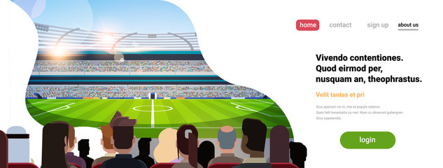 empty football stadium field silhouettes of fans waiting match rear view copy space flat banner vector illustration