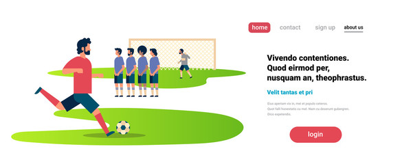 Football match free kick with opposing player set up defensive wall game situation goalkeeper protecting gates championship flat banner copy space vector illustration