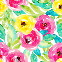 seamless watercolor pattern with yellow, pink flowers hand-painted