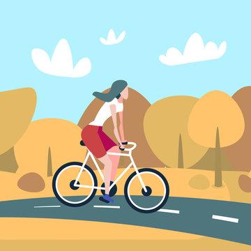 Woman cyclotourism autumn landscape background female sport