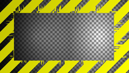 Warning sign on a transparent background, can be used as a frame