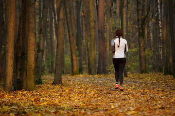 Picture from back of young sports woman in running through forest