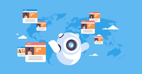 robot chatbot online messenger global people communication application concept over world map background flat horizontal vector illustration