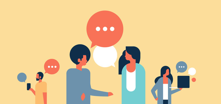 people chat bubbles communication speech dialogue man woman character background portrait horizontal flat vector illustration
