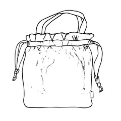 Lunch bag with ropes. Hand drawn illustration vector sketch