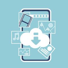 mobile online cloud synchronization application interface digital media music image online concept for design work and animation flat vector illustration