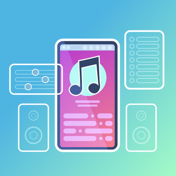 Mobile music player application interface audio sound