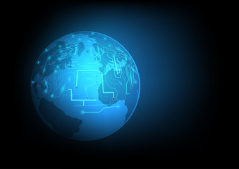 Abstract digital and technology background. Global network with futuristic of world communication circuit.