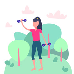 sportswoman doing physical jerks landscape background fitness aerobic female sport woman fitness activity cartoon character full length flat vector illustration