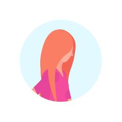 redhead woman profile avatar isolated female cartoon character portrait flat vector illustration
