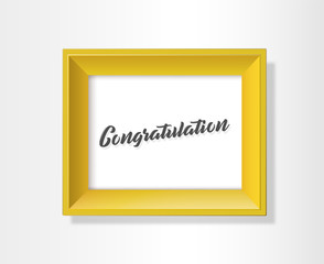 Vector golden background picture frame with Congratulation slogan.