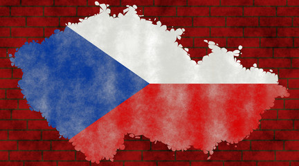 Illustration of a Czech Republic´s flag with a contour of its borders on the brick wall