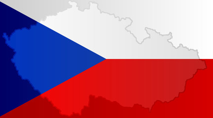 Illustration of a Czech flag with a coutour of its borders