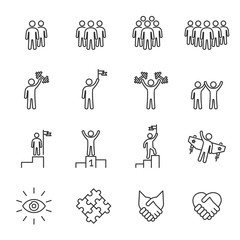 Business People Icons Line Vector , Person Work Group Team , Success , Handshake