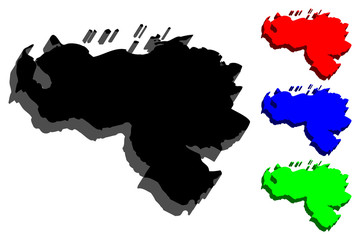 3D map of Venezuela (Bolivarian Republic of Venezuela) - black, red, blue and green - vector illustration