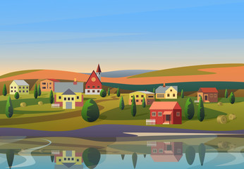 Vector Small town landscape with houses on shore of river with hills under blue morning sunsrise sky on background.