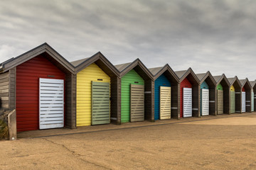 Beach huts  on a stormy day