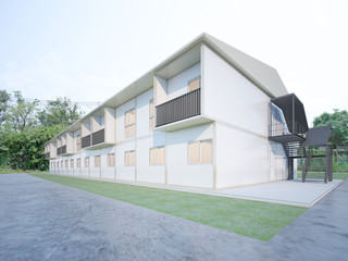 Shipping container Residence for staff , 3d rendering