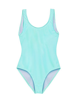 Pastel light blue one piece swimsuit isolated on white background