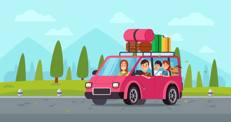 Cartoon family travel in car. Happy father, mother and childrens drive on holiday trip with luggage. Traveling vector illustration