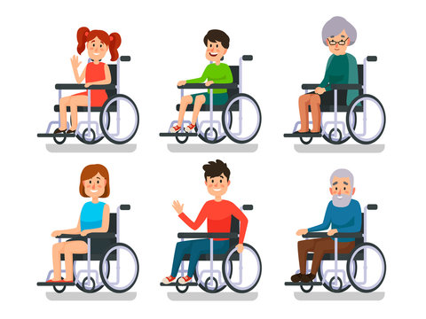 Persons in wheelchair. Hospital patient with disability. Disabled boy and girl, man woman and old people in wheelchairs vector set
