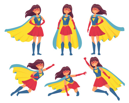 Woman superhero character. Wonder girl in superwoman costume with cloak. Superheroes hero character vector illustration