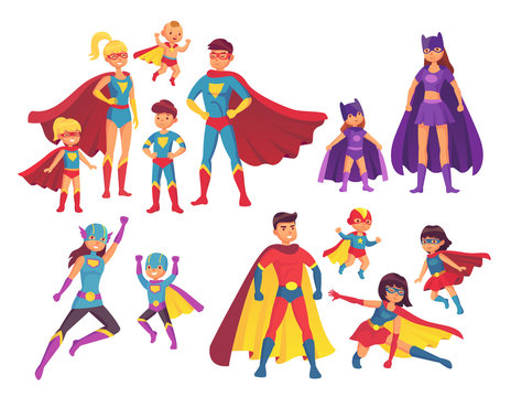 Superhero family characters. Superheroes character in costumes with hero cape. Wonder mom, super dad and children heroes vector set