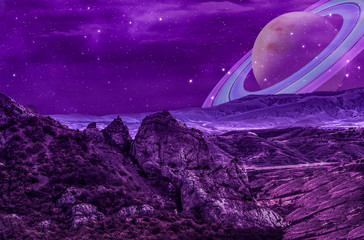 Foto op Textielframe Violet rocks on an alien planet