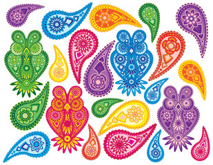 Floral and Owls Paisley Pattern vector Illustration drawing