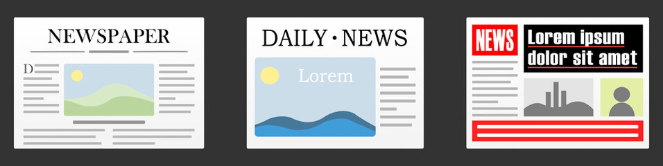 Newspapers - flat vector graphic with transparent background