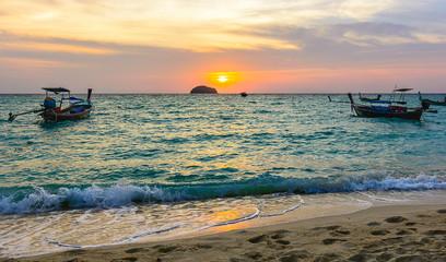 Sunrise at sunrise beach, Lipe island Satun Thailand.