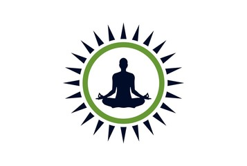 yoga meditation logo vector concept icon