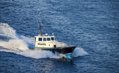 5575787 Pilot boat in the water area of the port of Nassau, Bahamas.