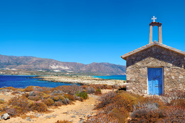 Panoramic view of the magnificent old Greek church on the island of Elafonisi in Crete in Greece