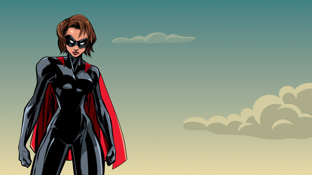Illustration of powerful superheroine posing on sky background.