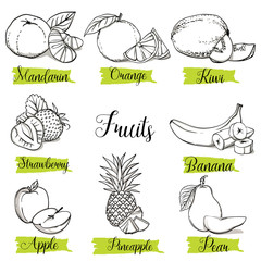 Hand drawn sketch style fruits and berries. Mandarin, orange, kiwi, strawberry, banana, apple, pineapple and pear. Organic fruit with leaf, vector doodle illustrations collection isolated.
