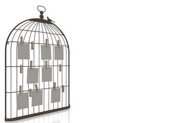 Portafoto mockup, cornice, voliera uccelli, art deco, illustrazione 3d, personalizzabile