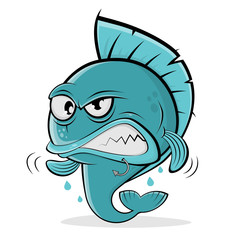 angry cartoon fish
