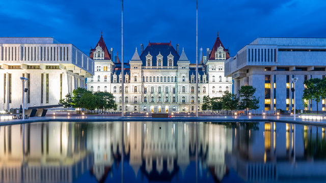 New York State Capitol building at night, Albany NY