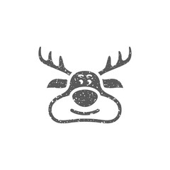 Reindeer the moose icon in grunge texture. Vintage style vector illustration.