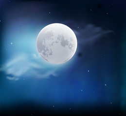 Moon in the sky with clouds. Night landscape. Vector