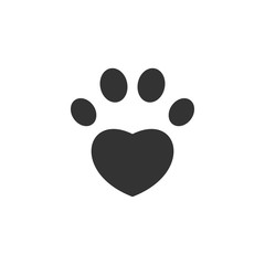 Paw icon. Heart shape. Love pet symbol. Vector
